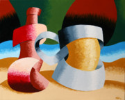 Glass Still Life Posters - Mark Webster - Abstract Futurist Beer Mug and Bottle Poster by Mark Webster