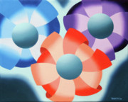 Orb Originals - Mark Webster - Abstract Futurist Flowers 2 Oil Painting  by Mark Webster