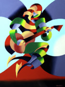 Futurism Framed Prints - Mark Webster - Abstract Guitarist Framed Print by Mark Webster