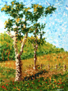 Pointillism Originals - Mark Webster - Abstract Tree Landscape Acrylic Painting by Mark Webster