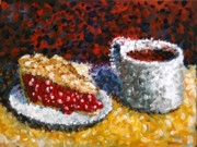 Pointillist Prints - Mark Webster - Impressionist Cherry Pie with Coffee Acrylic Still Life Painting Print by Mark Webster