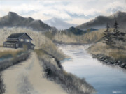 Barn Painter Posters - Mark Webster - Mountain Landscape Grayscale Oil Painting Poster by Mark Webster