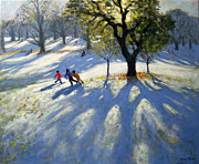 Sledging Prints - Markeaton Park early snow Print by Andrew Macara