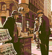 News Stand Prints - Market and Montgomery Streets San Francisco Print by Padre Art