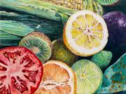 Kiwi Painting Originals - Market Basket 7 - Slice by Sandy Applegate