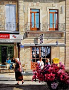 City Flowers Paintings - Market Cafe in Gascony by Robert W Cook