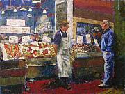 Men Pastels Posters - Market Conversation Poster by Mary McInnis