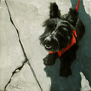 Scottie Portrait Paintings - Market Day - scottie dog by Linda Apple