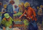 People Pastels Posters - Market Day in Santa Fe Poster by Beth Brooks