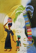 Abstract Mother And Child Paintings - Market Day by Marilyn Jacobson