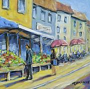 City Scape Metal Prints - Market Day Metal Print by Richard T Pranke