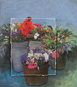 Flowers Mixed Media Originals - Market Flowers in Pails layered by Anita Burgermeister
