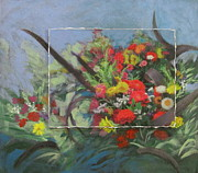 Flowers Mixed Media Originals - Market Flowers layered by Anita Burgermeister