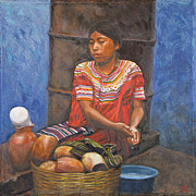 Ethnic Paintings - Market girl selling atole by Judith Zur