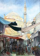 Turkish Paintings - Market in Izmir by Pamir Thompson