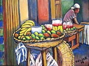 Granada Paintings - Market Merchant of Granada by Carlos Morales