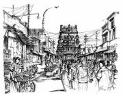Shops Drawings Prints - Market place - Urban life outside temple India Print by Aparna Raghunathan