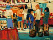 Crowd Scene Art - Market Scene by Brian Simons