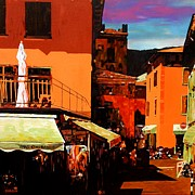 Townscapes Paintings - Market Stalls-Lake Garda by Stephen Diggin