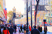 Bay Area Digital Art - Market Street - Photo Artwork by Wingsdomain Art and Photography