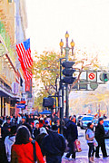 Broadway Digital Art Metal Prints - Market Street 2 . Photo Artwork Metal Print by Wingsdomain Art and Photography