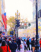 Broadway Digital Art Metal Prints - Market Street 4 . Photo Artwork Metal Print by Wingsdomain Art and Photography