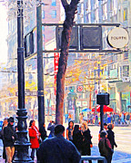 Broadway Digital Art Metal Prints - Market Street 5 . Photo Artwork Metal Print by Wingsdomain Art and Photography