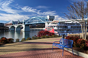 Tennessee River Photo Prints - Market Street Bridge with the Delta Queen from Coolidge Park Print by Tom and Pat Cory