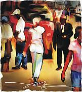 Haitian Mixed Media Prints - Market Street Scene Print by Bob Salo