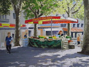 French Open Paintings - Market Under The Sycamores by Robert Rohrich