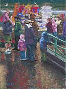 People Pastels Framed Prints - Market Winter Crowd Framed Print by Mary McInnis