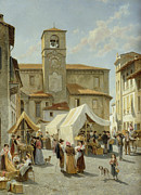 Bell Tower Paintings - Marketday in Desanzano  by Jacques Carabain