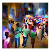 African American People Posters - Marketplace At Night Cap Haitien Poster by Bob Salo