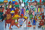 Marketplace Painting Framed Prints - Marketplace Jacmel Haiti Framed Print by Nicole Jean-Louis