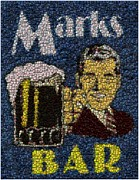Bottle Cap Framed Prints - Marks Bar Bottle Cap Mosaic Framed Print by Paul Van Scott