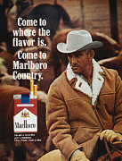 Cowboy Hat Framed Prints - Marlboro Cigarette Ad Framed Print by Granger