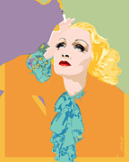 Old Hollywood Digital Art - Marlene yellow by Janine Hoffman