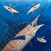 Blue Marlin Framed Prints - Marlin and Ahi Framed Print by Carol Lynne