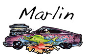 Custom Ford Drawings Metal Prints - Marlin Metal Print by Big Mike Roate