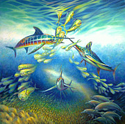 Golden Fish Painting Posters - Marlin Frenzy Poster by Nancy Tilles