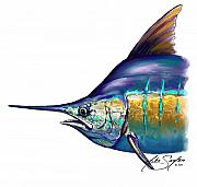Caribbean Mixed Media Posters - Marlin Portrait Poster by Mike Savlen