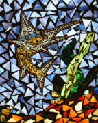 Ocean  Glass Art - Marlin by Sheri Thrift Roberson