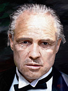 Brushstrokes Posters - Marlon Brando Poster by James Shepherd