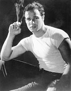 1950s Portraits Posters - Marlon Brando, Portrait From A Poster by Everett