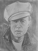 Movie Icon Drawings Posters - Marlon Brando Poster by Sandra Valentini