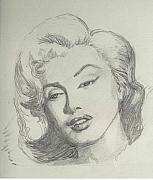 Munroe Drawings Originals - Marlyn Munroe by Asha Sudhaker Shenoy
