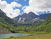 Maroon Bells Posters - Maroon Bells above Maroon Lake Colorado Poster by Brendan Reals