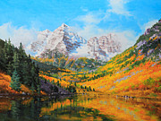 Autumn Foliage Painting Prints - Maroon Bells Print by Gary Kim