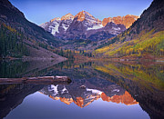 White River Photos - Maroon Bells Reflected In Maroon Bells by Tim Fitzharris