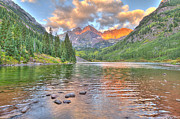 White River Prints - Maroon Bells Sunrise Print by Brian Stamm